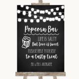 Chalk Style Black & White Lights Popcorn Bar Customised Wedding Sign