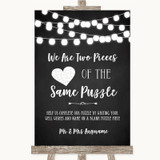 Chalk Style Black & White Lights Puzzle Piece Guest Book Wedding Sign