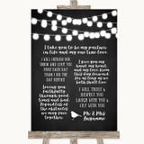 Chalk Style Black & White Lights Romantic Vows Customised Wedding Sign