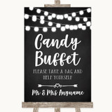Chalk Style Black & White Lights Candy Buffet Customised Wedding Sign