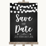 Chalk Style Black & White Lights Save The Date Customised Wedding Sign