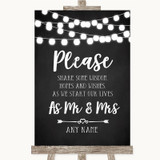 Chalk Style Black & White Lights Share Your Wishes Customised Wedding Sign