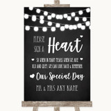 Chalk Style Black & White Lights Sign a Heart Customised Wedding Sign