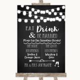 Chalk Style Black & White Lights Signature Favourite Drinks Wedding Sign