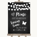 Chalk Style Black & White Lights Signing Frame Guestbook Wedding Sign