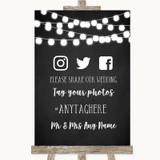 Chalk Style Black & White Lights Social Media Hashtag Photos Wedding Sign