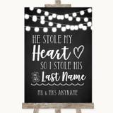 Chalk Style Black & White Lights Stole Last Name Customised Wedding Sign