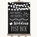 Chalk Style Black & White Lights Card Post Box Customised Wedding Sign