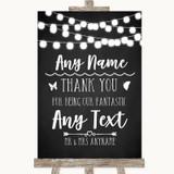 Chalk Black White Lights Thank You Bridesmaid Page Boy Best Man Wedding Sign