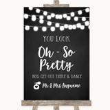 Chalk Style Black & White Lights Toilet Get Out & Dance Wedding Sign