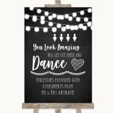 Chalk Style Black & White Lights Toiletries Comfort Basket Wedding Sign