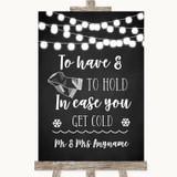 Chalk Style Black & White Lights Wedding Blanket Scarf Customised Wedding Sign