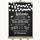 Chalk Style Black & White Lights Welcome Order Of The Day Wedding Sign