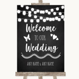 Chalk Style Black & White Lights Welcome To Our Wedding Sign