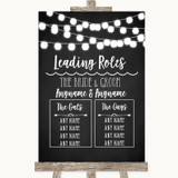 Chalk Style Black & White Lights Who's Who Leading Roles Wedding Sign