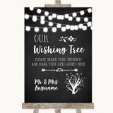 Chalk Style Black & White Lights Wishing Tree Customised Wedding Sign