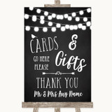 Chalk Style Black & White Lights Cards & Gifts Table Customised Wedding Sign