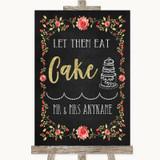 Chalk Style Blush Pink Rose & Gold Let Them Eat Cake Customised Wedding Sign