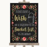 Chalk Style Blush Pink Rose & Gold Bucket List Customised Wedding Sign