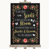 Chalk Style Blush Pink Rose & Gold Plant Seeds Favours Customised Wedding Sign