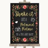 Chalk Style Blush Pink Rose & Gold Polaroid Picture Customised Wedding Sign
