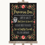 Chalk Style Blush Pink Rose & Gold Popcorn Bar Customised Wedding Sign