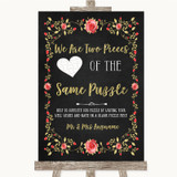 Chalk Style Blush Pink Rose & Gold Puzzle Piece Guest Book Wedding Sign