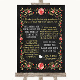 Chalk Style Blush Pink Rose & Gold Romantic Vows Customised Wedding Sign