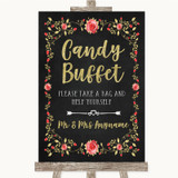 Chalk Style Blush Pink Rose & Gold Candy Buffet Customised Wedding Sign
