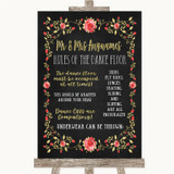 Chalk Style Blush Pink Rose & Gold Rules Of The Dance Floor Wedding Sign