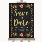 Chalk Style Blush Pink Rose & Gold Save The Date Customised Wedding Sign