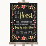 Chalk Style Blush Pink Rose & Gold Sign a Heart Customised Wedding Sign