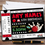 Bowling Ticket Customised Children's Birthday Party Invitations