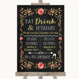 Chalk Style Blush Pink Rose & Gold Signature Favourite Drinks Wedding Sign