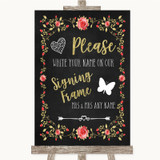 Chalk Style Blush Pink Rose & Gold Signing Frame Guestbook Wedding Sign