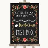 Chalk Style Blush Pink Rose & Gold Card Post Box Customised Wedding Sign