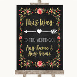 Chalk Style Blush Pink Rose & Gold This Way Arrow Left Customised Wedding Sign