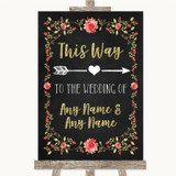 Chalk Style Blush Pink Rose & Gold This Way Arrow Right Wedding Sign