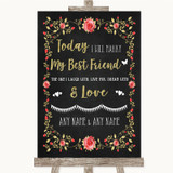 Chalk Style Blush Pink Rose & Gold Today I Marry My Best Friend Wedding Sign
