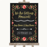 Chalk Style Blush Pink Rose & Gold We Are Getting Married Wedding Sign