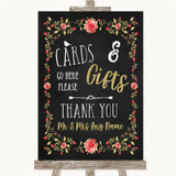 Chalk Style Blush Pink Rose & Gold Cards & Gifts Table Customised Wedding Sign