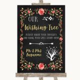 Chalk Style Blush Pink Rose & Gold Wishing Tree Customised Wedding Sign