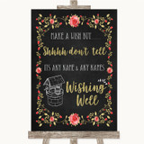 Chalk Style Blush Pink Rose & Gold Wishing Well Message Wedding Sign