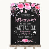 Chalk Style Watercolour Pink Floral Instagram Photo Sharing Wedding Sign