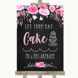 Chalk Style Watercolour Pink Floral Let Them Eat Cake Customised Wedding Sign