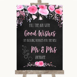 Chalk Style Watercolour Pink Floral Blow Bubbles Customised Wedding Sign