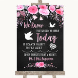 Chalk Style Watercolour Pink Floral Loved Ones In Heaven Wedding Sign