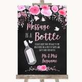 Chalk Style Watercolour Pink Floral Message In A Bottle Wedding Sign