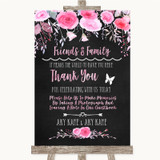 Chalk Watercolour Pink Floral Photo Guestbook Friends & Family Wedding Sign