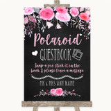 Chalk Style Watercolour Pink Floral Polaroid Guestbook Customised Wedding Sign
